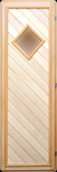 Дверь 70х190 липа со стеклом ромб и вагонкой 45 градусов правая, арт. ДС-9-Пр