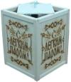 Абажур подвесной большой С ЛЕГКИМ ПАРОМ с надписью по центру (липа), арт. А-28
