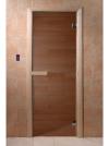 Дверь стеклянная 69х189 бронза/сосна с прямоугольной ручкой, магнитной защелкой и 2-мя петлями (DOORWOOD)