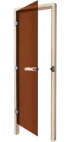 Дверь стеклянная 69х185 бронза/осина правая с прямоугольной ручкой (SAWO), арт. 730-3SGA-R