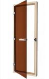 Дверь стеклянная 69х189 бронза/осина с порогом с прямоугольной ручкой (SAWO), арт. 730-4SGA
