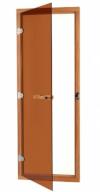 Дверь стеклянная 69х189 бронза/кедр с порогом с прямоугольной ручкой (SAWO), арт. 730-4SGD