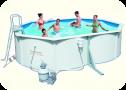 Бассейн стальной BESTWAY 500х360х120 (с песочным фильтром, скиммером, лестницей, подстилкой), арт. 56586