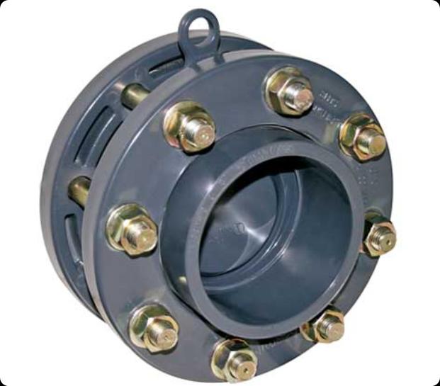 ПВХ Клапан обратный мембранный Д. 90мм с адаптерами, фланцами, болтами (комплект)